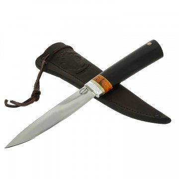 Нож Якутский средний (сталь Х12МФ, рукоять черный граб, стабилизированная карельская береза, притин дюраль)