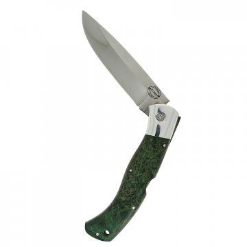 Складной нож Якутский (сталь Х12МФ, рукоять стабилизированная карельская береза)
