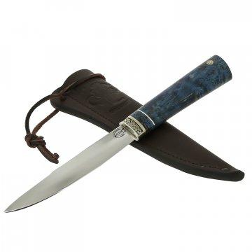 Нож Якутский средний (сталь Х12МФ, рукоять стабилизированная карельская береза, мельхиор)