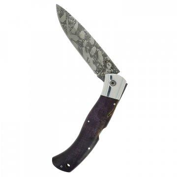 Складной нож Якутский с художественным травлением (сталь D2, рукоять стабилизированная карельская береза)