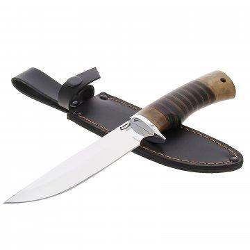 Нож Осетр (сталь 65Х13, рукоять орех, наборная кожа)
