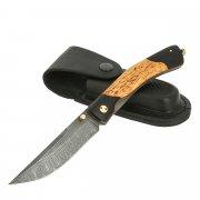 Складной нож Кайрос (дамасская сталь, рукоять черный граб, карельская береза) арт.11528