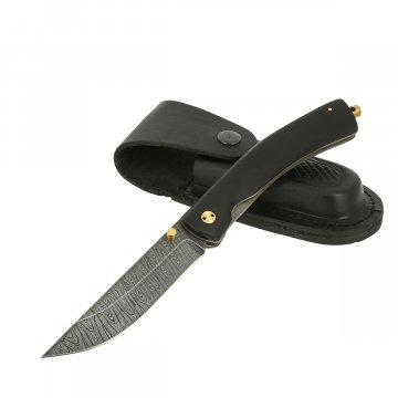 Складной нож Помор (дамасская сталь, рукоять черный граб)