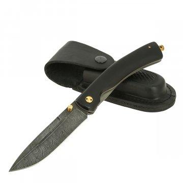 Складной нож Попутчик (дамасская сталь, рукоять черный граб)