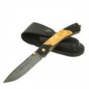 Складной нож Попутчик (дамасская сталь, рукоять черный граб, карельская береза) арт.11554