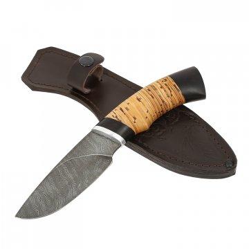 Нож Разделочный (дамасская сталь, рукоять береста, граб)