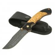 Складной нож Ястреб (дамасская сталь, рукоять черный граб, карельская береза)