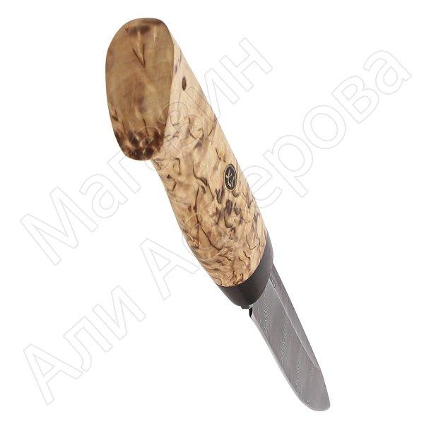 Нож Засапожный (сталь дамасская, рукоять карельская береза)