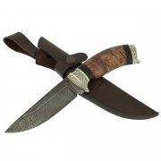 Нож Зенит (дамасская сталь, рукоять карельская береза, черный граб)