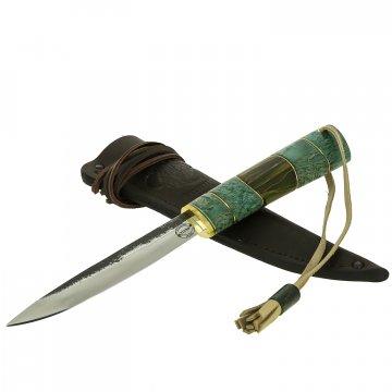 Нож Якутский средний (сталь Х12МФ, рукоять стабилизированная карельская береза, вставка из стабилизированных листьев кукурузы в акриле)