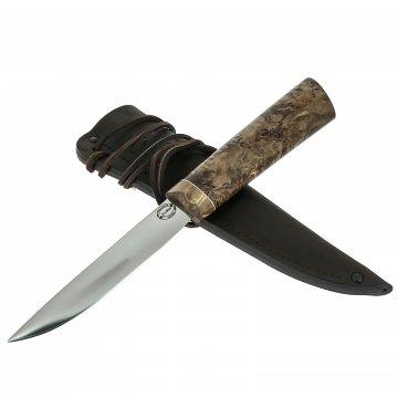 Нож Якутский средний (сталь Х12МФ, рукоять стабилизированная карельская береза)
