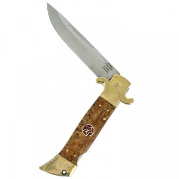 Складной нож Финка НКВД Звезда (сталь Х12МФ, рукоять стабилизированная карельская береза, латунь)