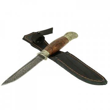 Нож Финка НКВД (дамасская сталь, рукоять стабилизированная карельская береза)