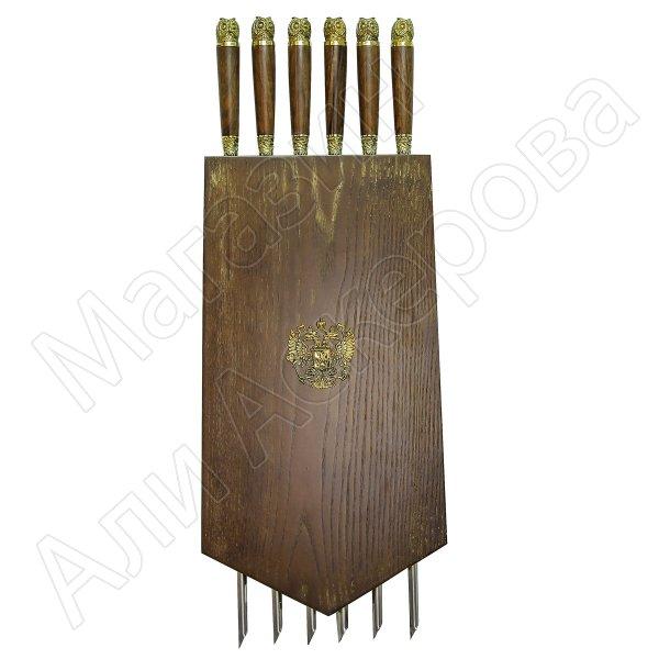 Элитный шампурный набор ручной работы в деревянном подарочном панно №2