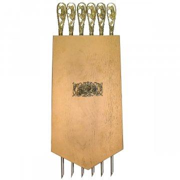 Элитный шампурный набор ручной работы в деревянном подарочном панно №1
