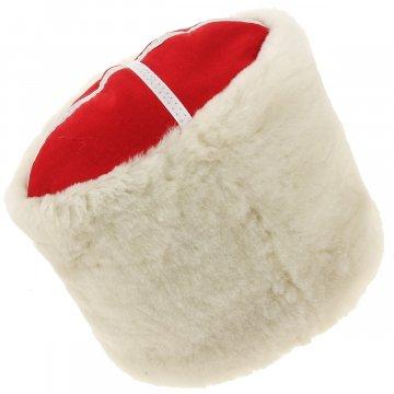 Казачья кубанка белая (овчина, ручная выделка, высота 20 см, размерная утяжка)