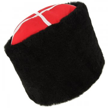 Казачья кубанка черная (овчина, ручная выделка, высота 20 см, размерная утяжка)