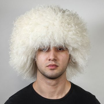 Кавказская папаха Хабиба белая из натуральной овчины