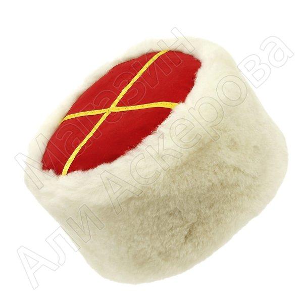 Казачья кубанка белая (овчина, ручная выделка, высота 12 см, размерная утяжка)