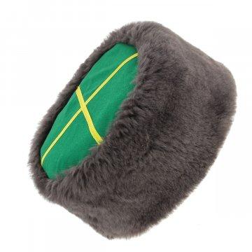 Казачья кубанка серая (овчина, ручная выделка, высота 12 см, размерная утяжка)