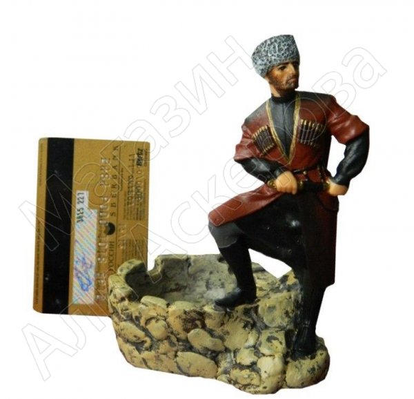 """Подарочная статуэтка-пепельница ручной работы """"Джигит"""" (обожженная глина)"""
