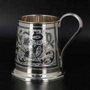 Серебряная пивная кружка Кубачи ручной работы