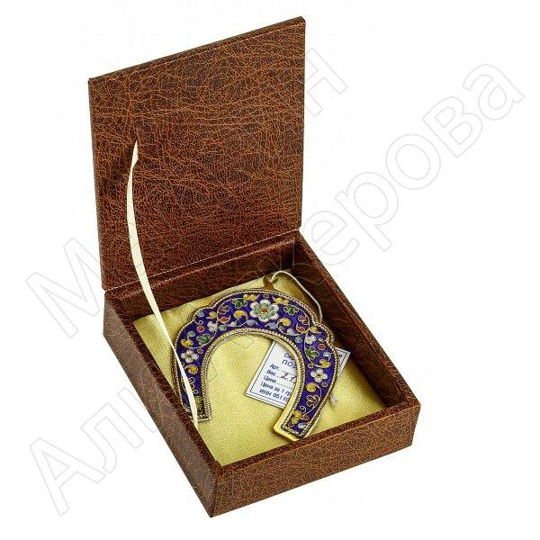 Кубачинская серебряная подкова с эмалью ручной работы малая (футляр в подарок)