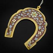 Кубачинская серебряная подкова с эмалью ручной работы малая (футляр в подарок) арт.6590