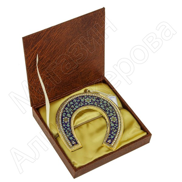 Кубачинская серебряная подкова с эмалью ручной работы большая (футляр в подарок)