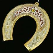 Кубачинская серебряная подкова с эмалью ручной работы большая (футляр в подарок) арт.6597