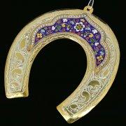 Кубачинская серебряная подкова с эмалью ручной работы большая (футляр в подарок) арт.6598