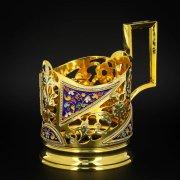 Серебряный подстаканник Кубачи с эмалью (стакан и коробка - в подарок)