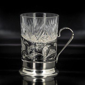 Серебряный подстаканник Кубачи (стакан и коробка - в подарок)