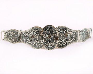 Женский пояс мельхиоровый ручной работы мастера Гасана Гаджиахмедов (3 элемента)