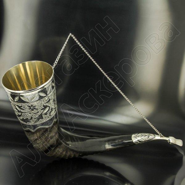Элитный серебряный рог турий Кубачи с пиалой
