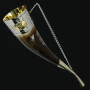 Кавказский рог бычий малый (отделка - мельхиор, медальоны - латунь) арт.10764