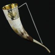 Кавказский рог бычий средний (отделка - мельхиор, медальоны - латунь)