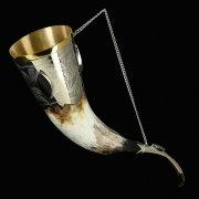 Кавказский рог бычий (отделка - мельхиор и камни-медальоны)