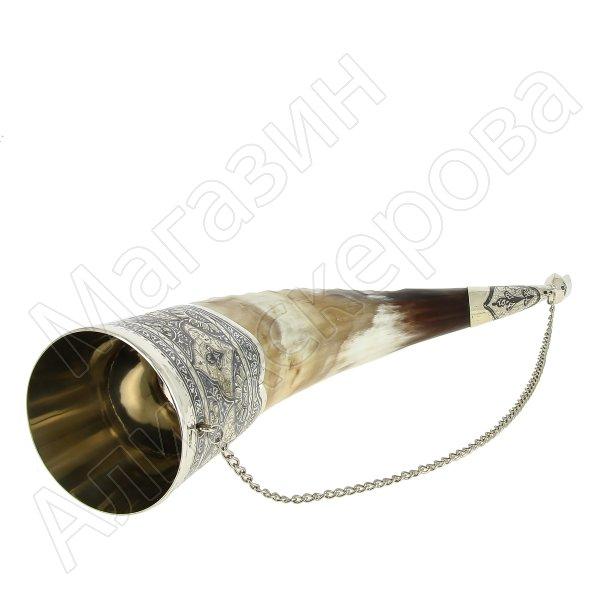 Элитный серебряный рог бычий Кубачи с пиалой в подарочном футляре из бархата