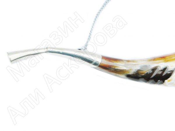 Кавказский рог бычий рифленый №2 (отделка - мельхиор и камни-медальоны)