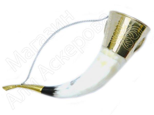 Подарочный рог бычий латунный медальоном средний