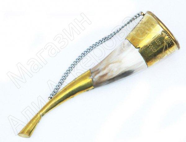 Рог бычий сувенирный малый латунь №2