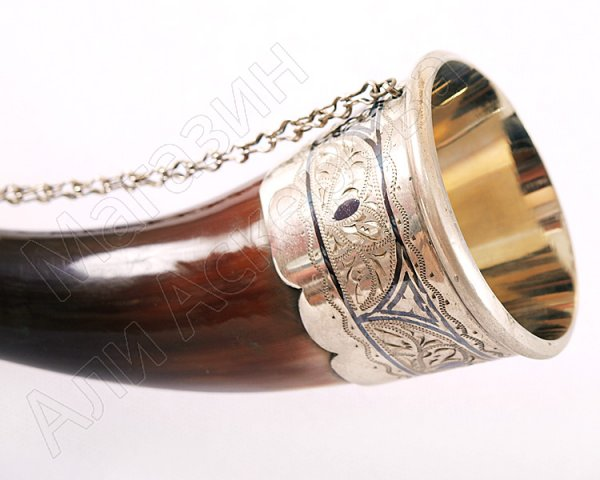 Серебряный подарочный рог бычий малый (в ассортименте)