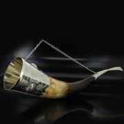 Кавказский рог бычий рифленый с пиалой (отделка - мельхиор) арт.5843