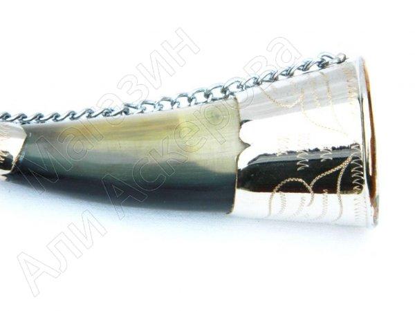 Рог бычий сувенирный малый латунь №6