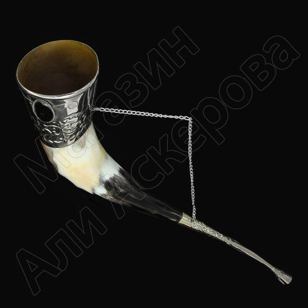 Кавказский рог бычий (отделка - мельхиор с медальонами)
