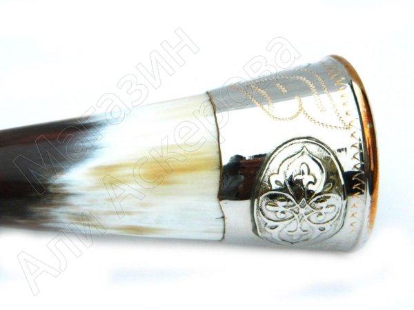 Рог бычий сувенирный малый  мельхиор №8