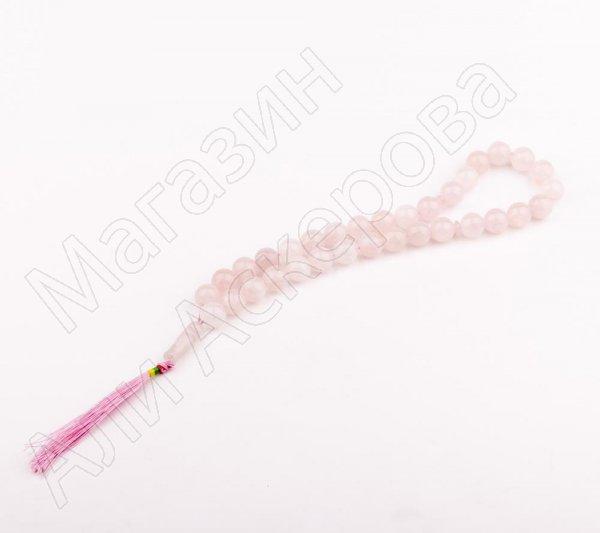 """Мусульманские четки натуральный камень """"Розовый кварц"""" 33 бусины"""