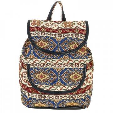 Рюкзак в этно стиле из ткани и кожи