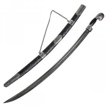 Кавказская сабля ручной работы (дамасская сталь, ножны - мельхиор, натур. кожа)